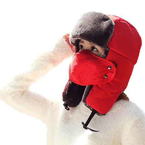 De Al Flap Senderismo De De Libre Otoño Invierno De Invierno Patinaje Unisex Viento Prueba Hombre Bombardero Sombrero Esquí Aire Caliente Rojo Máscara De Para Ushanka Deportes De SOOCO A 4Zqw4dgAnB