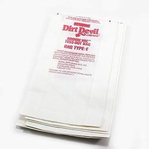 Dirt Devil 3-070147-001 Dirt Devil Vacuum Bag, Type E, 3-Pack Genuine Original Equipment Manufacturer (OEM) Part