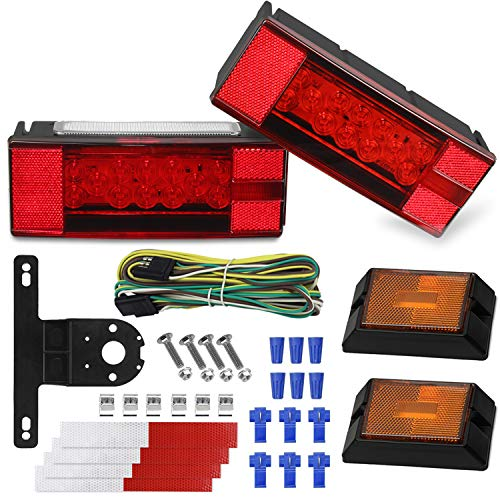 WoneNice Led Submersible Trailer Light Kit, 12V Waterproof Trailer Tail Light Kit Combination Stop, Taillights/Brake, Turn Running Marker Lights for 80 Inch Boat Trailer Vehicle RV Boat Truck