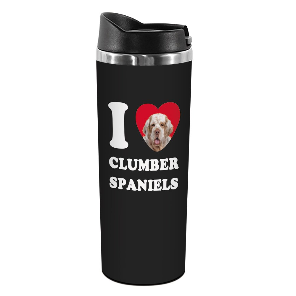 Tree-Free Greetings TT42035 I Heart Clumber Spaniels 18-8 Double Wall Stainless Artful Tumbler 14-Ounce