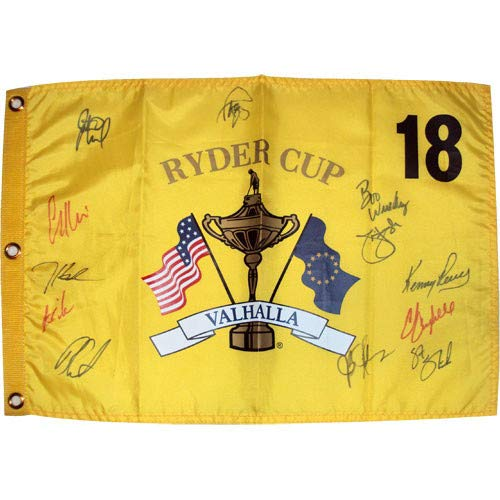 (2008 Ryder Cup Valhalla Golf Pin Flag Autographed Signed Auto by 11 Team USA Members #1 - Certified Authentic)