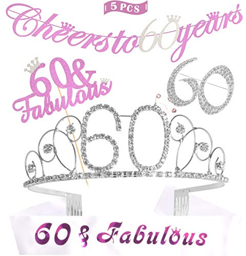 (60th Birthday Decorations Party Supplies | Gold 60th Birthday Tiara | 60th White Satin Sash Damn I make 60 look good | Gold Glittery Cheers to 60 Years Banner | 60 Golden Rhinestone Brooch (Silver))