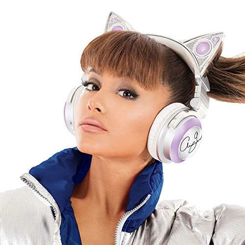Brookstone Limited Edition Ariana Grande Wireless Cat Ear Headphones with External Speaker, Bluetooth Microphone, and Color Changing Accents Earcup Headphones Speakers