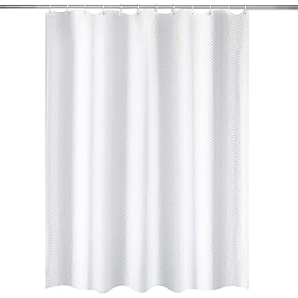 ELFiee Shower Curtain With Hooks 72x72 Inches Polyester Fabric Mildew Free Waterproof Heavy