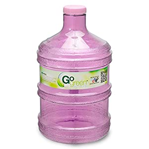1 Gallon BPA FREE Reusable Plastic Drinking Water Big Mouth Bottle Jug Container with Holder - Pink