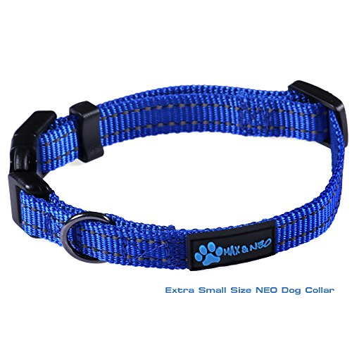 Max and Neo&Trade; NEO Nylon Buckle Reflective Dog Collar - We Donate a Collar to a Dog Rescue for Every Collar Sold (X-Small, Blue)