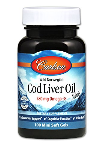 Carlson - Cod Liver Oil Minis, 280 mg Omega-3s, Heart Support & Cognitive Function, Vision Health, 100 Mini Soft gels