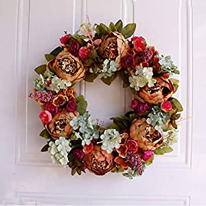 White Peony Wreath Christmas Wreath Door Wall Hanging Ornament Rattan Round Garland Decoration Artificial Flower Fake Flower 22