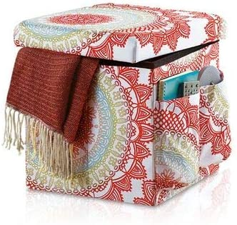 Anthology Folding Storage Ottoman in Bungalow, Outside Pockets Keep Items , Great for Any Bedroom, Living Room, or Dorm MULTI