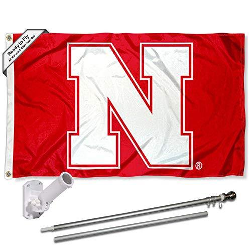 Nebraska Cornhuskers Block N Flag with Pole and Bracket Complete Set (Flag Team Pole Bracket N)