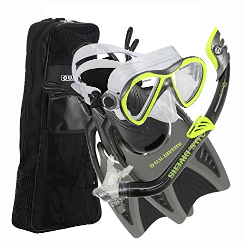 U.S. Divers Youth Flare Junior Silicone Snorkeling Set, Neon Black, Large (3-6)