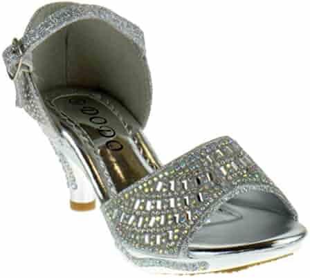3ee6079135ac DODO K3 300KM Little Girls Glitter Rhinestone Heeled Dress Sandals
