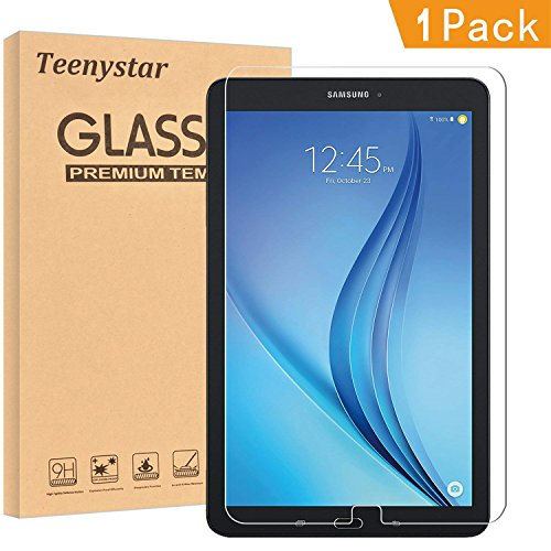 Samsung Galaxy Tab E 9.6 Screen Protector, Teenystar [9H Hardness] [Crystal Clear] [Scratch-Resistant] [Easy Installation] Tempered Glass Perfect for SM-T560 T561 T565 T567V. (1 Pack)