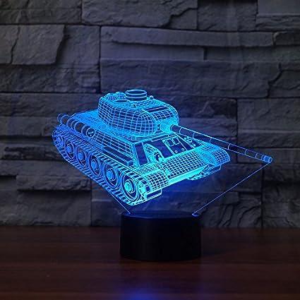 HPBN8 3D Panzer Illusions LED Lampen Tolle 7 Farbwechsel Acryl Tabelle Schreibtisch-Nachtlicht USB-Kabel f/ür Kinder Schlafzimmer Geburtstagsgeschenke Geschenk【7 bis 15 Tage in Deutschland angekommen】