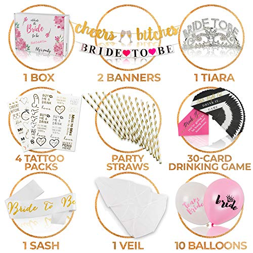 Bachelorette Party Decorations for Bridal Showers – Complete Set of Bride-to-Be Party Supplies with Tiara, Bride Sash and Veil, Balloons, 2 x Banners and Much More – Non-Allergenic Engagement Accessor