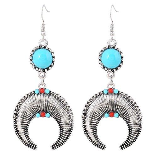Hoxekle Exaggerated Moon Ethnic Beads Drop Earrings Alloy Personalized Women African Tribal Earrings Silver