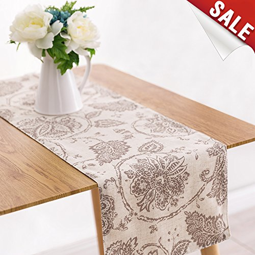 Table Runner Linen Textured 13 x 72 inch Scroll Pattern Decorative Burlap Tablecovers Rustic Floral Design Handcrafted Flax Tablecloths, Taupe