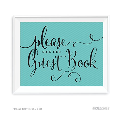 Andaz Press Party & Co. Collection, Please Sign Our Guestbook Sign, 8.5x11-inch, 1-pack, For Diamond Inspired Birthday, Baby Bridal Shower, Baptism]()