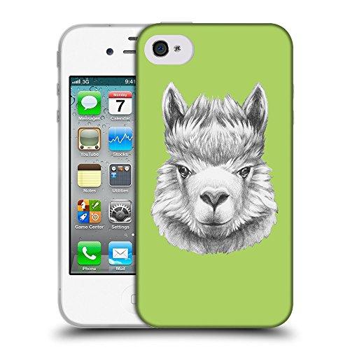 GoGoMobile Coque de Protection TPU Silicone Case pour // Q05380628 Portrait lama Inchworm // Apple iPhone 4 4S 4G