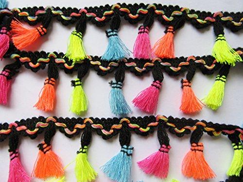 YYCRAFT 6 Yards Rainbow Tassel Trim Cotton Fabric Ribbon Fringe Black Edge - Black Fabric Tassel