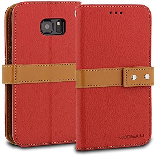 Galaxy S7 Case, ModeBlu [Journal Case Series] [Red] Wallet Case ID Credit Card Cash Slots Premium Canvas [Stand Sales