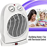 Oscillating Compact Space Heater Fan Portable Home Office 1500W, Adjustable Thermostat