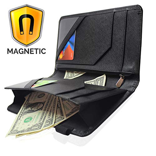 Ogalv Server Book with Zipper Pocket for Waitress Waiter Organizer Magnetic Wallet with Money Black Pen Holder Fits Restaurant Guest Check Order Pad and Apron