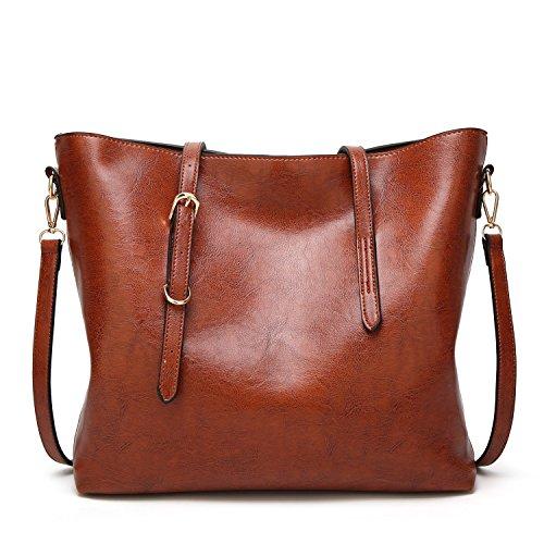 tracolla a borsa Brown Rzl e moda semplice Lady Borsa Nuove a Crossbody Borse Maniglia olio pelle donne spalla Wild diagonale unica RwqwE5rInx