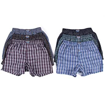 Men's Plaid Boxers (12 pack) - (Small , Color: Assorted)