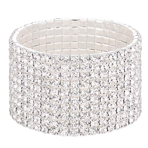 Stylebar Women 10 Strand Row Bracelets Bridal Stretch Bracelet for Wedding Silver Tone Bridal Full Clear Austrian Crystal Rhinestone