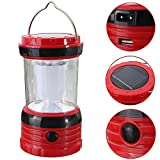 New Rechargeable Solar Mobile Power Bank Lantern Lamp Light Torch Outdoor Camping (Red)