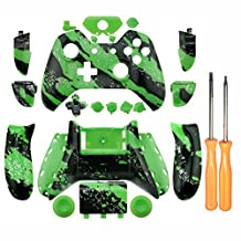 WPS Xbox One Shell & Button Kit for Wireless Controller Hydro Dipped Green Splatter with T6 & T8 Screw and Screwer