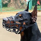 KITAINE Dog Muzzle, Soft Breathable Rubber Basket Muzzle for Dogs Small Medium Large Dogs Muzzle to Stop Biting Chewing Barking, Lightweight Adjustable Muzzle Allow Dog Drinking Panting (XL)