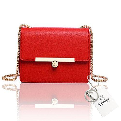 Impermeable Rojo Media Nuevas Style Elegante Pequeñas Para Cadena Greyblue Yoome Mujeres Street Bolsas Flap Chic qB766w