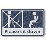 座りション トイレステッカー 立たないでジョ~!!(デニム調)トイレ ステッカー  立ちション禁止 座って 座る マナー 掃除 シール メイヴルアットホーム