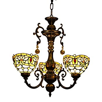Makenier Vintage Classic Art Tiffany Style Stained Glass Lotus 3 Arms Chandelier, 7 Inches Lampshade