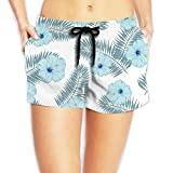 Bahuluo Women's Tropical Volley Beach Shorts Fine Plant
