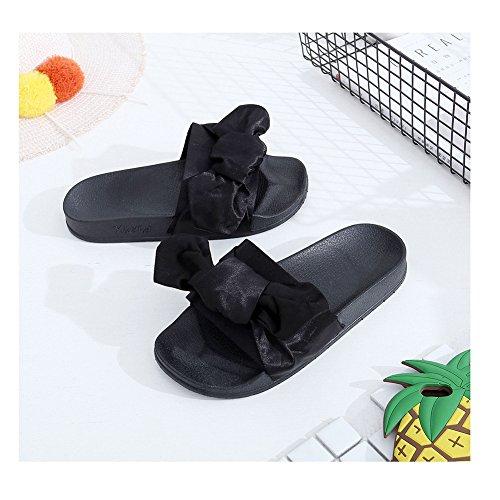 satén mujer Sandalias vestir Material para negro Sintético de de Amkun v8wxFqF