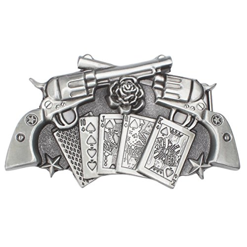 [Vintage Handgun and Poker Belt Buckle (GNPK-01)] (Hand Belt Buckle)