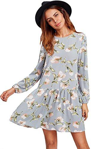 Floerns Women's Floral Print Long Sleeve Drop Waist Dress Grey L (Drop Waist Womens Dress)