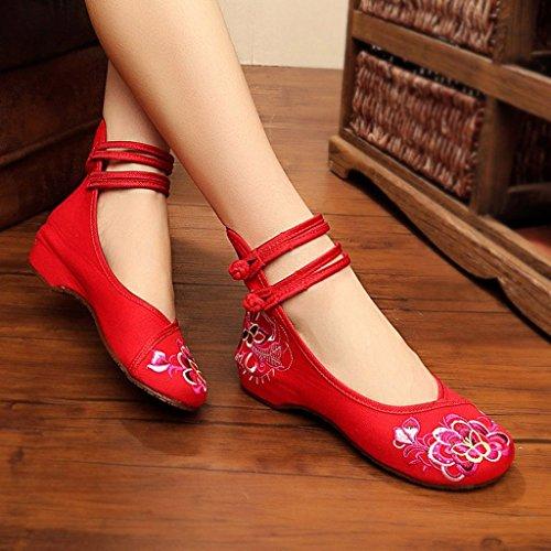 paño de rojo la estilo Color elegantes las Zapatos Rojo Zapatos 37 Tamaño señoras bordados de Zapatos ballet étnico Rojo del moda del 6tZFO5Fwqn