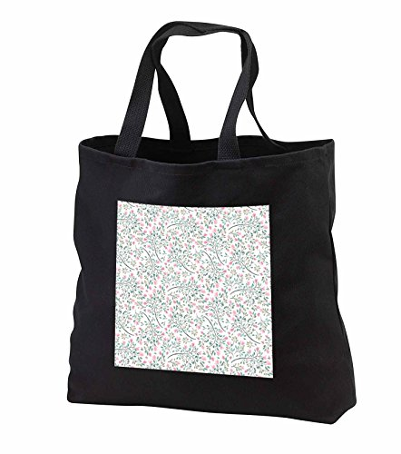 Price comparison product image Anne Marie Baugh - Watercolor - Pretty Pink and Green Leafy and Floral Watercolor Pattern - Tote Bags - Black Tote Bag 14w x 14h x 3d (tb_252775_1)