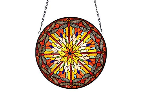 Happy Living Time Vintage Tiffany Style Stained Art Glass Dragonfly Window Panel Wall Hanging (Yellow) ()