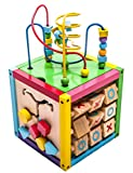 MMP Living 6-in-1 Play Cube Activity Center - Wood, 8'' - 6 sided including counting, gears, abacus, tic tac toe, block track and 3 different bead play options