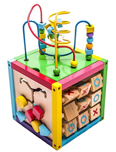 "MMP Living 6-in-1 Play Cube Activity Center - Wood, 8"" - 6 Sided Including Counting, Gears, Abacus, tic tac Toe, Block Track and 3 Different Bead Play Options"