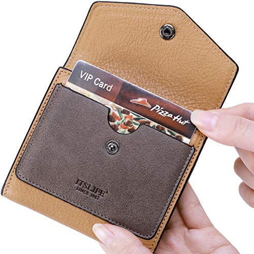 Itslife Women's Small Leather Wallet RFID Card Holder Mini Bifold Ladies Flat Pocket Purse (Natural Apricot & Waxed Dark Apricot)