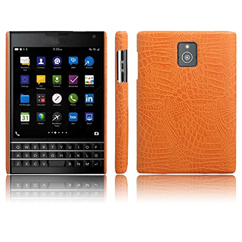 JDDRCASE For Cell Phones Case, Luxury Classic Crocodile Skin Pattern [Ultra Slim] PU Leather Anti-scratch PC Protective Hard Case Cover for BlackBerry Passport Q30 (Color : Orange)