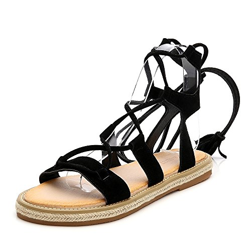 Wollanlily Women Roman Style Gladiator Sandals Ankle Strap Espadrilles Side Summer Flats Shoes Black-03 US 6