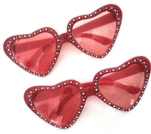 Valentines Day Novelty Glasses Red Heart Shaped Sparkly Gems (2 - Hats And Glasses