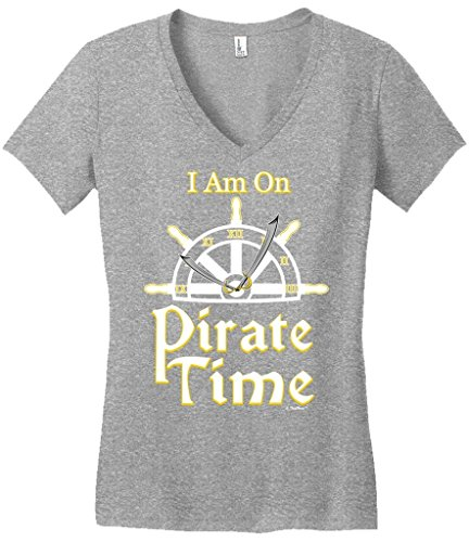 [Funny Sailing Gift I Am On Pirate Time Sailing Nautical Boating Juniors Vneck Medium LtHtr] (Authentic Pirate Coats)